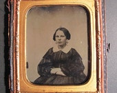 Vintage Photo Early Ambrotype PRetty Young Woman half Case tinted carved star in clasp