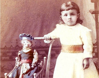 Victorian Little Girl w Her Doll in Carriage Photo print