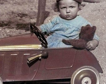 French Boy Girard in His Auto Car with Teddy Bear Tinted Vintage Photo Print