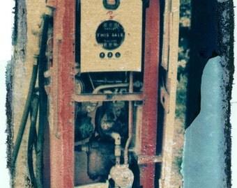 Old Gas Station Pump Polaroid Transfer Fine Art Photo Print