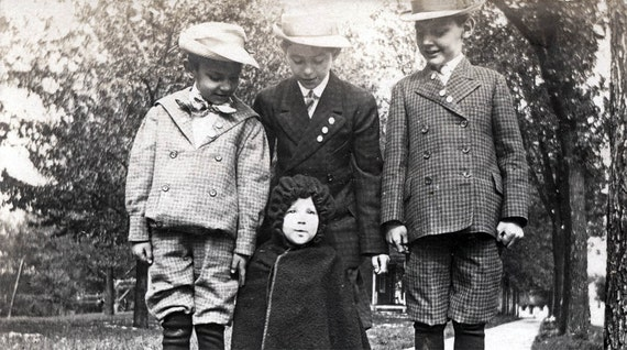 vintage photo 3 Brothers all Suits Adore Red Riding Hood baby Sister 1904