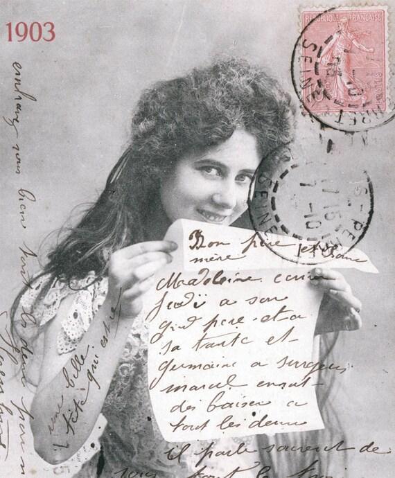 vintage photo Carte Postale Woman Paris beautiful 1903 french france