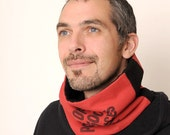 Red Black Cowl Scarf -Recycled Red and Black money bag Neckwarmer/ Cowl Scarf