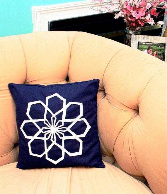 Geo Modern Flower Pillow Cover in Navy