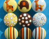 Hand Painted Drawer Knobs - Elephant, Giraffes, Stripes and Polka Dots - Set of 9 Decorative Door Pulls