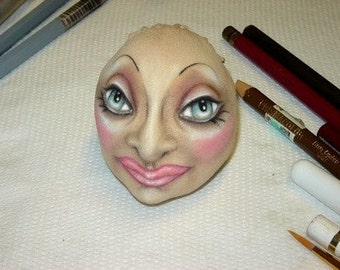 doLL  PDF ePattern / workshop how to sculpt a profile face, cloth-over center seam