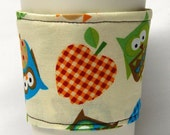 Coffee Cozy/Cup Sleeve Eco Friendly Slip-on, Teacher Appreciation, Co-Worker Gift: Owls and Apples