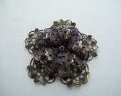 Large Victorian Antique Brown Brass Filigree Jewelry Finding  50 mm