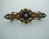 Vintage Victorian  Antique gold and Vintage Rhinestone barrette hair clip