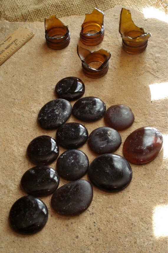 Vintage Slumped Glass Beads Reclaimed Beer Bottle Neck Pieces for Assemblage, Mosaic, Jewelry Found Object