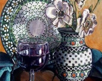 Polish Pottery, Still Life art, kitchen art print, wine art, kitchen artwork wall decor, giclee print Heather Sims. Size Mat option