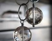 Sheer Smoky Quartz Gemstone Earrings, Coin Faceted Smoky Quartz Earrings, Circle Oxidized Sterling Silver, Geometric Modern Jewelry - RADIUS