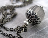 Grey Silver Acorn Necklace, Vintage Style Gray Acorn Pendant Necklace, Antiqued Silver, Black Chain, Gift for Gardener, Nature Acorn Jewelry