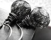 Black Tourmalinated Quartz Earrings - WIre-wrapped Gemstone Earrings, Oxidized Sterling Silver, Modern Jewelry, Handmade Round Earring Wires