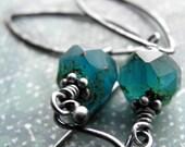 Aqua Glass Earrings, Oxidized Sterling Silver, Hammered Sterling Silver Leaf Leaves, Earthy Blue Teal Glass Bead Earrings, Modern Jewelry
