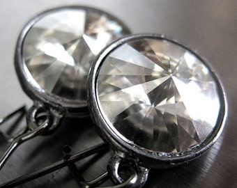 Modern Crystal Earrings with Black Gunmetal - Silver Shade Swarovski Rivoli Crystal Earrings, Bridesmaid Earrings, Prom Jewelry - Moonlight