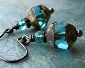 Petite Earthy Aqua Glass Earrings, Small Teal Glass Bead Earrings, Black Gunmetal, Rustic Boho,  Affordable Jewelry Gift - INNER BEAUTY