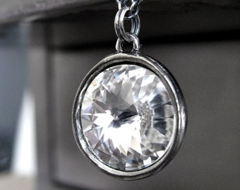Clear Crystal Necklace, Swarovski Crystal Pendant, Rivoli Crystal Pendant Necklace, Oxidized Sterling Silver, Modern Bridal Wedding Jewelry