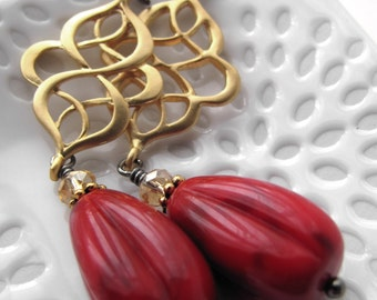 Red Gold Bollywood Earrings - India Inspired, Gold with Vintage Mottled Red Acrylic Teardrops, Indian Bhangra Bollywood Dance Jewelry