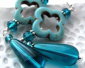 Long Aqua Turquoise Earrings with Teal Quatrefoil and Silver - Mediterranean Ocean Sea Teardrop - Tropical Resort Summer Jewelry