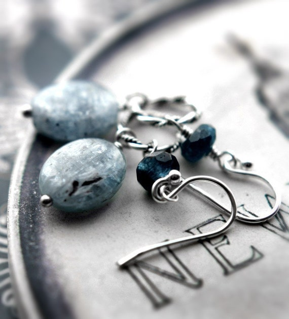 Kyanite Apatite Gemstone Earrings - Sea Sky Blue, Baby Blue, Sterling Silver Twist Rope Ring, Nautical Jewelry, Sea Ocean Inspired Earrings