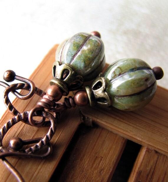 Earthy Green Earrings, Mottled Moss Green Earthtones, Brown Antiqued Copper, Vintage Style Earrings, Boho Natural - Around the World