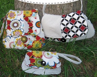 PDF Sewing Pattern Bundle - Aivilo Curvy Trio: Messenger, Purse and Wristlet - set of 3 - Instant Download