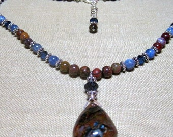 SALE - Earth and Sky Necklace with Pendent - N111