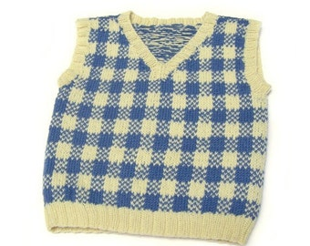 Sweater vest pullover toddler boy age 2 to 3 yellow blue kids SALE