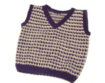 Wool sweater vest toddler boy age 2 to 3 purple yellow hand knit SALE
