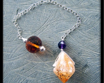 Amber, Amethyst, Citrine Point and Sterling Silver Pendulum