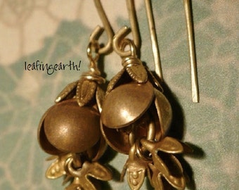 brass flower  cascading flower dangle earrings