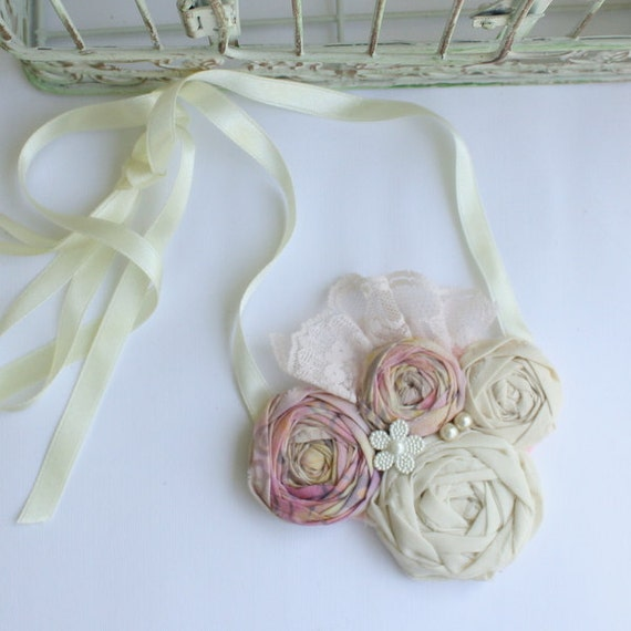 Fabric Rosette Bib Necklace PEACE ROSES Statement or Wedding Piece Mini Cream and Light Pink