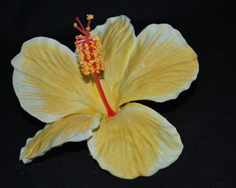 Tropical Yellow Hibiscus Hair Clip - Retro Glam Wedding Prom Rockabilly - Buy 3 Get 1 FREE