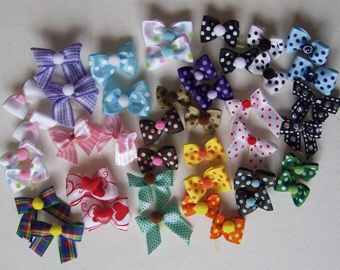 Puppy Small Dog Bows - 12 pairs 24 bows