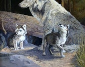 Giclee Print - Wolves - Wildlife - Wolf Den- Cubs