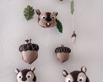 Children Mobile Chipmunks  Acorns and leaves - READY to ship