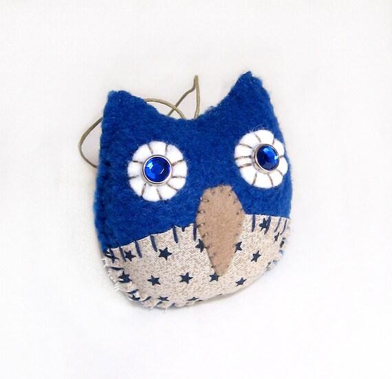 Blue Stars Owl Ornament