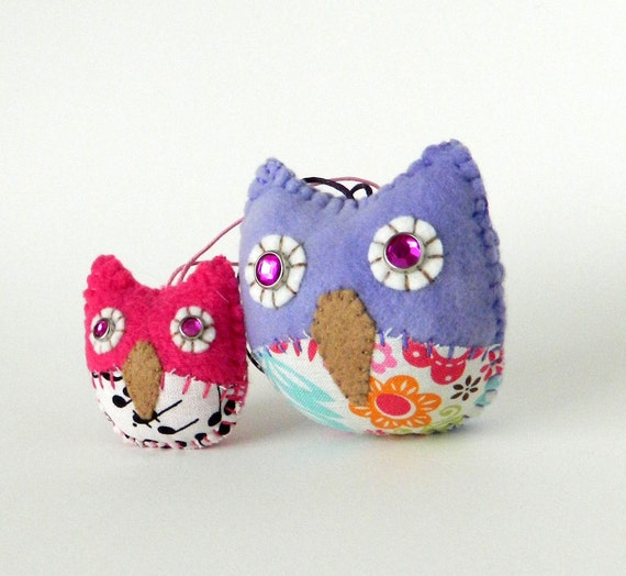 Mother and Daughter Owl Ornaments - LAST set LEFT