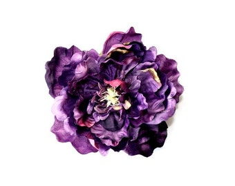 Peony in Royal Purple with Pink Accents - 4.5 inches - Artificial Flower - ITEM 0537