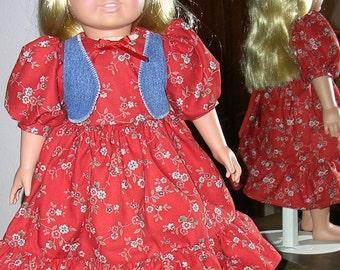 HANDMADE DRESS for 18-inch doll, deep red/orange calico print dress, denim vest