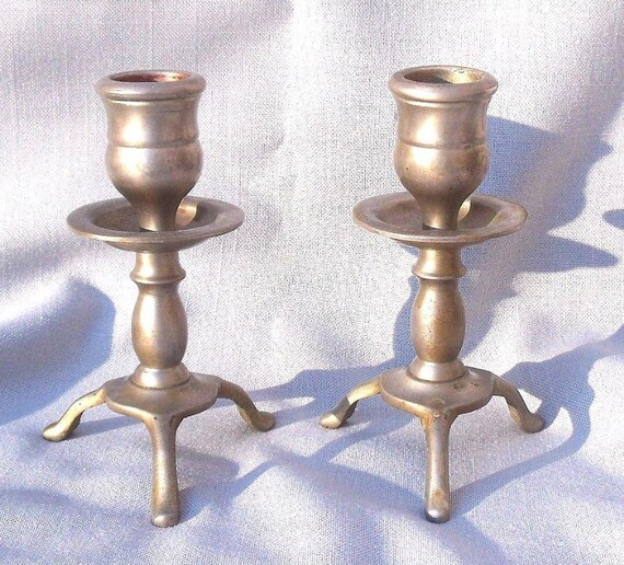 Very Nice Pair of Nickel Plated / Solid Brass Shabbat Candlestick Holders