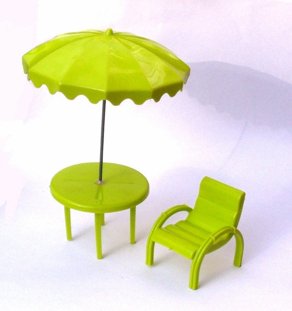 Vintage Marx Patio Table Umbrella and Chair