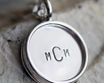 3/4 Inch Reversible Sterling Silver Personalized Pendant with Rim and Stamping on BOTH Sides
