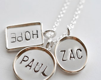 Personalized Hand Stamped Sterling Silver  - Oval  Rectangle & Circle Pendant Necklace - Stamping on BOTH Sides