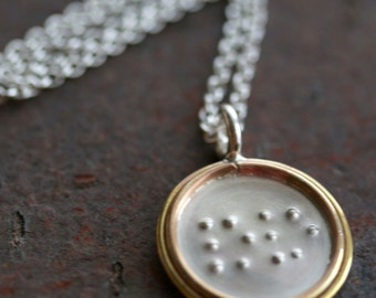 Featured in Midwest Living Magazine - Single-Sided Sterling Silver Personalized Braille Pendant  with Double Gold Filled Rim Necklace