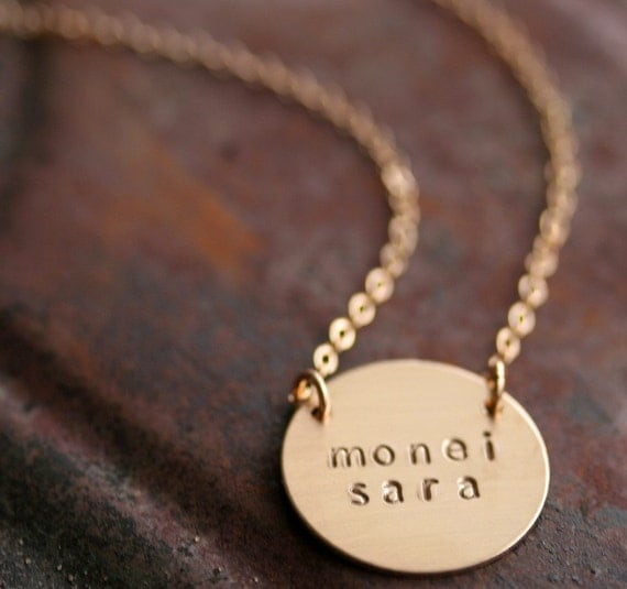 Personalized Simplicity in 14K Gold Filled - Hand Stamped Name Necklace