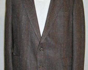 Men Vtg 1970s Sport Coat jacket Halston 2 Button Brown Tweed Sport Coat Sz 46 XL