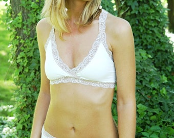 Organic Cotton Bra - Ivory 'Summersweet' Bralette - Organic Cotton/Lycra Blend Lingerie Made To Order
