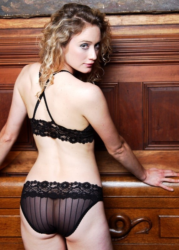 READY TO SHIP Size Small - Black Pinstripe 'Love In A Mist' Panties - Womens Lingerie - Last One